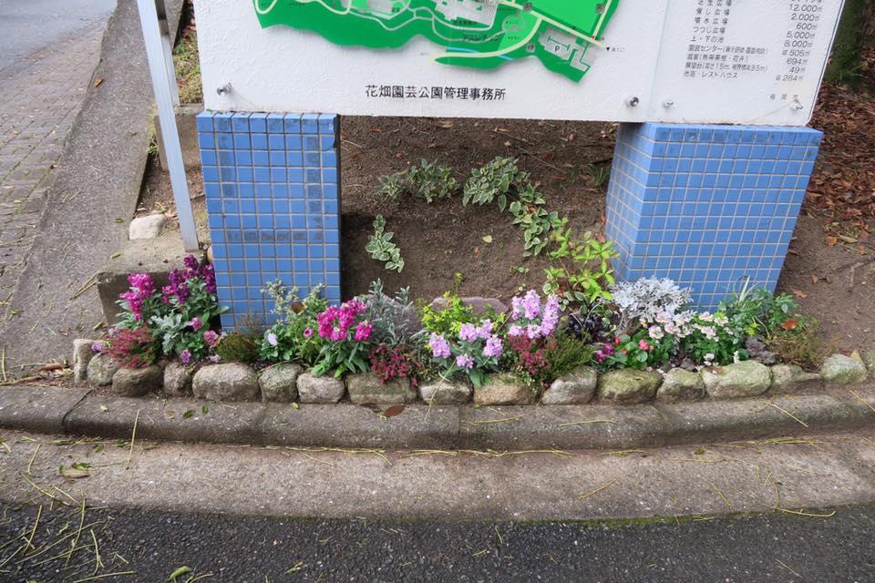 エントランス案内サインの花壇3